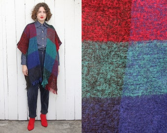 Vintage 70s Poncho | 70s Plaid Mohair Wool Fringed Poncho Open | One Size