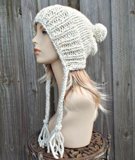 Wheat Cream Slouchy Pom Pom Hat - Cream Hat Cream Beanie Slouchy Hat Slouchy Beanie Winter Hat Womens Hat Charlotte