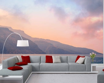 Removable Wallpaper Mural Peel & Stick Cloudy Sky in Pastel Colors Watercolor