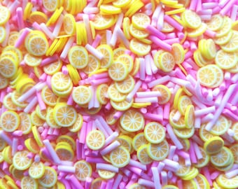RASPBERRY LEMONADE, Pastel Pink and Pink Polymer Clay Fake Sprinkles with Lemon Slices, Decoden Funfetti Jimmies, E45