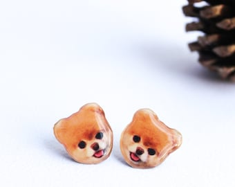 Boo studs , Dog earrings , Puppy earrings , Puppy jewelry , animal studs , Boo jewelry , Boo lover gift , cute dog studs , puppy studs