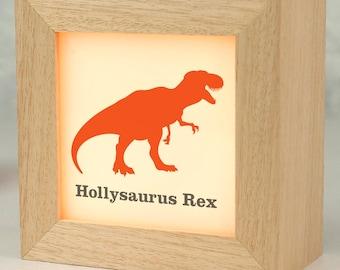 Personalised T-Rex Dinosaur Lightbox/  solid wood/ child's  name/ t-rex dinosaur design/ personalised gift/