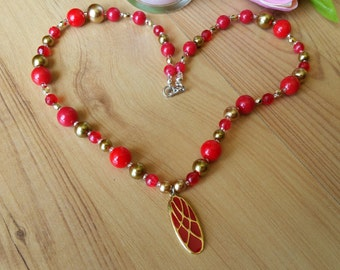 Full of Love Red Gold Necklace