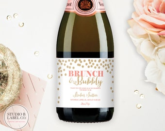Bridal Shower Favor Mini Champagne Labels - Personalized Custom Labels - Brunch and Bubbly - Celebrate the Bride to Be