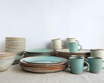 Mix and Match Dinnerware Set Stoneware Dinnerware Pottery Dinnerware Place Setting White & Stoneware dinnerware | Etsy