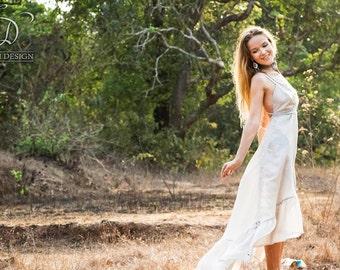 Sale - AGAVE DRESS - Bohemian Hippie Maxi Elegant Prom Wedding Party Burning man Maternity Plus size Gypsy Ethnic - Grey white silk