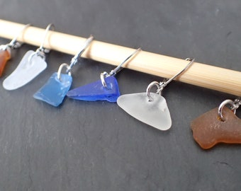 Beach Glass Stitch Markers for Knitting and Crocheting - Removable Stitch Markers - set of 6