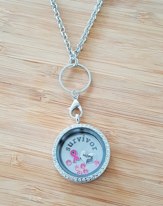 Breast Cancer Survivor Memory Locket Breast Cancer Necklace Breast Cancer Gifts Breast Cancer Awareness Cancer svg Living Floating Locket