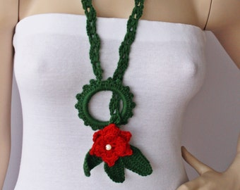 crochet jewelry ,crochet pendant ,crochet necklace, Christmas necklace scarf