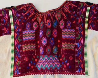 Vintage Guatemalan Huipil Hand Embroidered Shirt