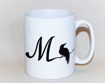 The Raven initial mug, feather on reverse,  Edgar Allan Poe inspired mug, Crow personalised mug, personalised raven xmas mug, Nevermore mug