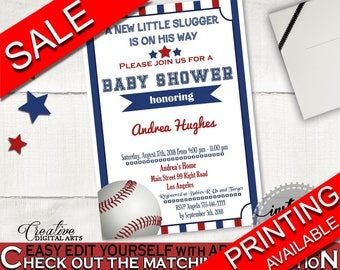 Invitation Baby Shower Invitation Baseball Baby Shower Invitation Blue Red Baby Shower Baseball Invitation instant download pdf jpg YKN4H
