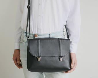 Satchel bag black leather, box bag, cross body bag, shoulder bag, yellow leather purse