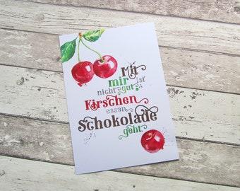 """Bild, Poster, Typographie, Druck, Kunstdruck """"Kirschen essen"""" von Frollein KarLa"""