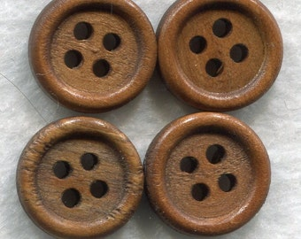 Brown Wood Buttons Decorated Wooden Buttons 15mm (5/8 inch) Set of 8 /BT57