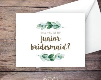 Printable Green Garden Will You Be My Junior Bridesmaid Card, Greenery, Instant Download Card, Be My Jr. Bridesmaid, Wedding Card – Natalie