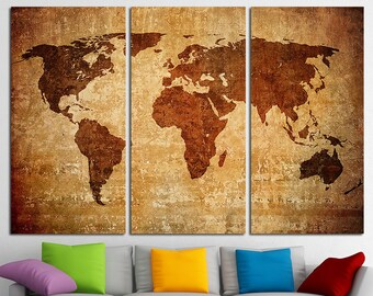 Large World Map Canvas Print Wall Art Multi Panel World Map Wall Decor World Map Print Old World Map Poster Wall Art Travel Map Canvas Art