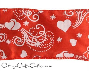 """Valentine Ribbon, 2 1/2"""" wide, White Hearts on Red Satin, Wired Edge - THREE YARDS - Offray """"Juliet"""" CraftWire Edge Ribbon"""