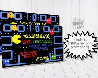 Birthday Invitation, Arcade Game Party, Printable Invitation, Personalized, Video Game Party, Arcade Game Birthday Invitation, Ghost party