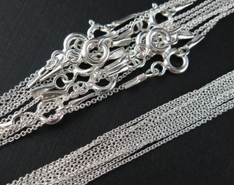 Sterling Silver Necklace, 925 Sterling Silver Chain - Tiny Plain Cable Oval - Finished Necklace - 22 inches (1 pcs) - SKU: 601009-22