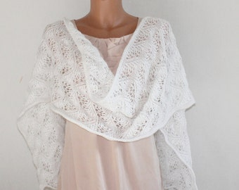 White Knit Shawl, Bridal Shawl, Wedding Shawl, Fine Lace Angora Knit shawl