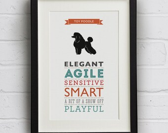 Toy Poodle Dog Breed Traits Print - Great Gift for Toy Poodle Lovers!