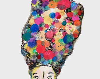 Fabulous Pouf - Potpourri Series - Inspired - Flowers Color illustration Art Print