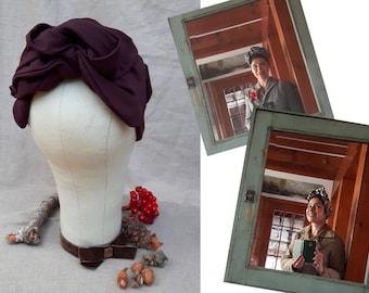 Turban Headband Turbandband bordeaux dunkelrot Worker Style Haarband Vintage fifties forties 40-er 50-er Fünfziger Haarschmuck weinrot rot