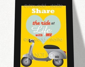 Love Gift for Valentine's Day, Biker Motorcycle Rider Gift, Gift for Him, Gift for Her, Art Print Lovers Gift, Gift Boyfriend Girlfriend