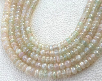 Brand New, Full 8 Inch Strand MYSTIC Grapefruit Green Chalcedony Faceted Rondelles,6-8mm Size.