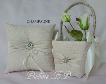 Champagne, Ivory or White ring bearer pillow, Wedding ring bearer pillow and Flower girl basket 2 pc set, Lace ring pillow, Sash ring pillow