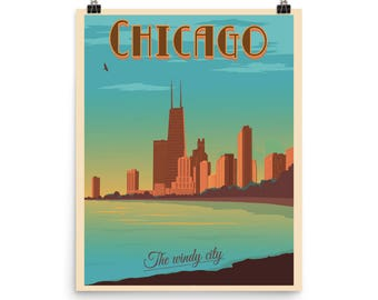 Chicago Illinois | The Windy City | Photo Paper Travel Poster