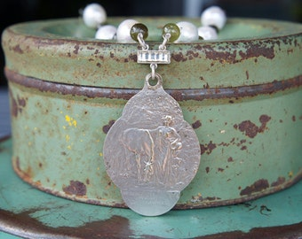 Antique Assemblage Necklace with Equestrian-Themed Mirror Locket, Kasumi-like Pearls and Green Garnets