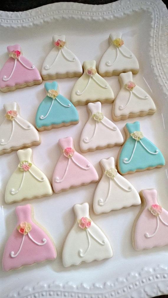 15 Pieces Petite Sized Wedding Dress Cookies - Cookie Favors, Wedding Cookies,  Bridal Shower Cookies, wedding gown cookies