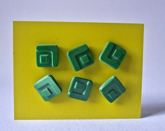 6 Mid Century Modern Vintage Square Buttons for Sewing and Crafts
