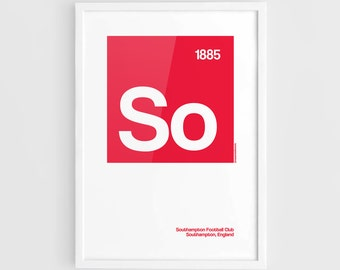 Southampton FC Football Elements Poster - A3 Wall Art Typography Print Poster, Minimalist Poster, Football Poster, Soccer Poster