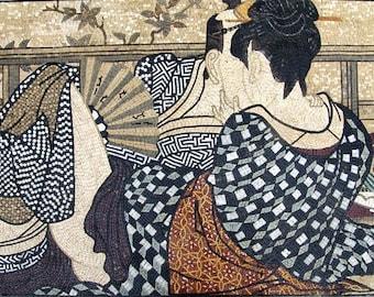 Shunga Japanese Erotic Art Kissing Scene  Marble Mosaic Mural