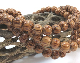 8mm Wood Beads, Coconut Palm Tree Wood Beads, Wood Beads, 8mm Round, 16 inch Strand, Necklace Beads, Item 1033wb