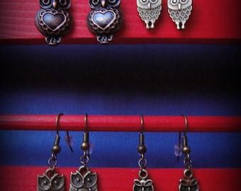Choose earrings, bronze / copper, owls