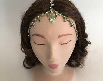 COACHELLA Silver Green Pattern Crystal Gypsy Crown