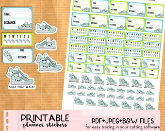 Kawaii Walk, Run, Steps, Workout Stickers set - Printable Planner stickers, Print&Cut stickers for Happy Planner, Filofax, Erin Condren...