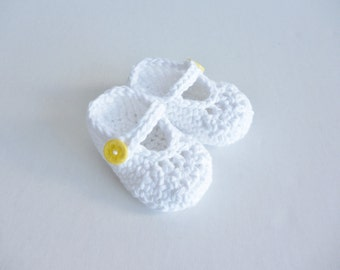 Baby shoes - newborn size - cotton sandals - Mary Jane's - pure white - soft organic cotton - yellow button fastening