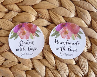 Set of 15 Personalised Floral Made with love Stickers - Handmade with love, Baked with love, Cookie stickers, Baked goods labels