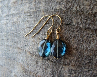 London Blue Topaz Earrings in 14k Gold