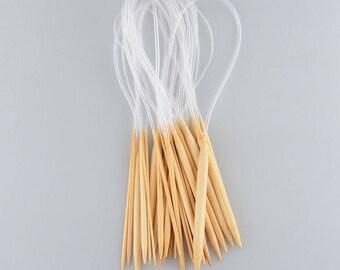 Knitting Needle Set 18 Sizes 60cm Circular Carbonized Bamboo