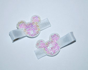 Mickey Mouse White Iridescent Sequin Hair Clips - Buy 3 Items, Get 1 Free