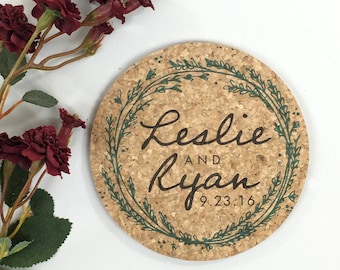 Wreath Cork Coaster Wedding Favor Greenery Personalized with Names and Wedding Date // Wedding Reception Cork Coaster Favor