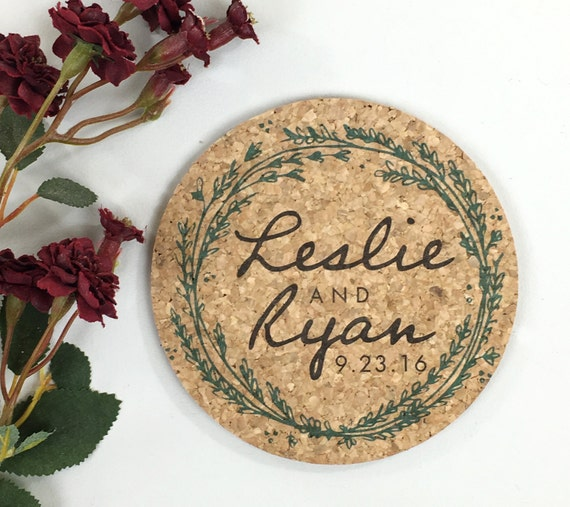 Wedding Cork Coaster: Wreath Cork Coaster Wedding Favor Greenery Personalized With