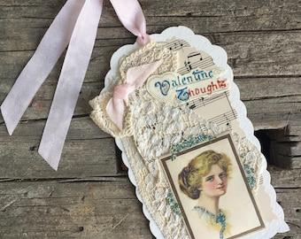 Handmade Vintage Style Valentine, Gift Tag, Multimedia Tag, Edwardian Lady