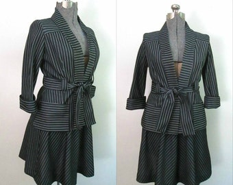 Vintage Black White Striped Set / 1960s Skirt Jacket Outfit